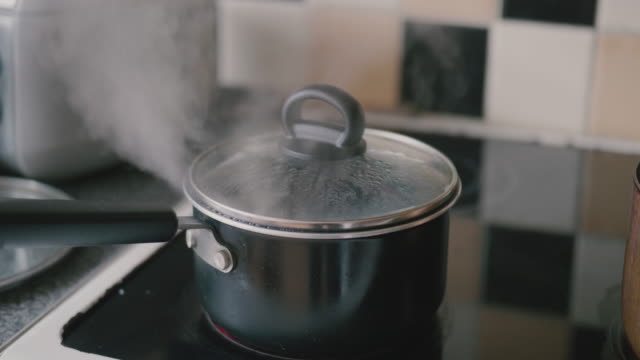boiling water in pot