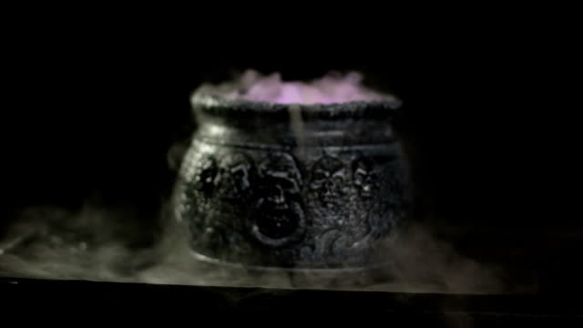 Boiling Witches Cauldron with mist / steam - DOLLY