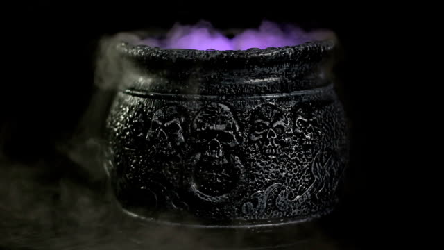 boiling witches cauldron with mist / steam - cooking pan stock videos and b-roll footage