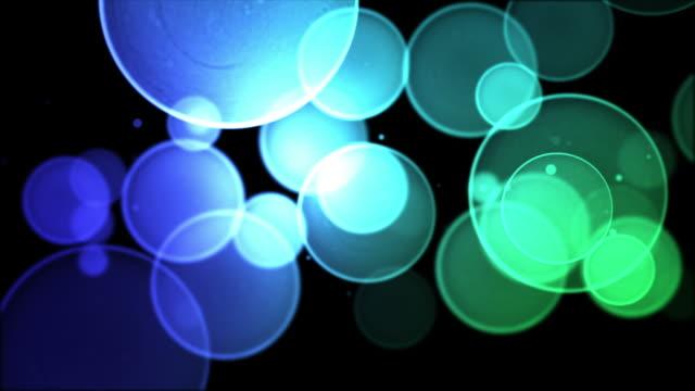 Bokeh Background Loop - Blue/Green on Black (HD 1080)