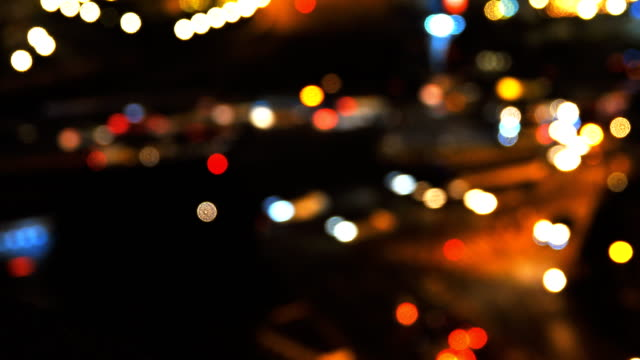bokeh light in the city for background - bugtiger stock videos and b-roll footage