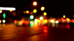 Bokeh night city road. Out of focus.