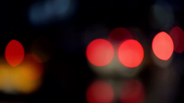 Bokeh traffic lights in the night