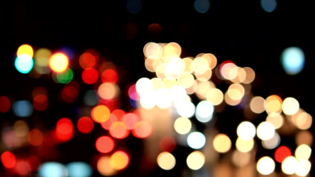 Bokeh traffic night light