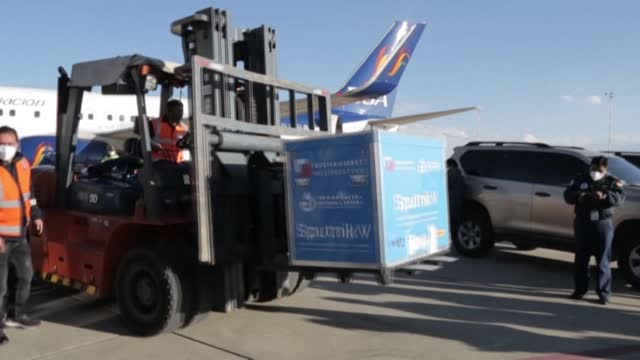 bolivia on thursday received its first batch of 20,000 russian sputnik v vaccines to immunize health workers on the frontlines of the fight against... - sputnik stock videos & royalty-free footage