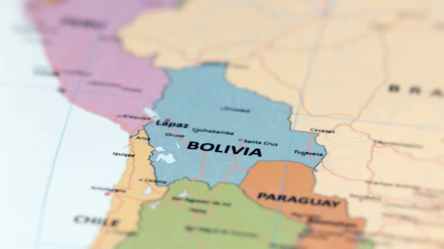 south america bolivia on world map - bolivia stock videos & royalty-free footage