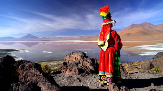 vídeos de stock, filmes e b-roll de bolivian female flamingo lake eduardo avaroa national reserve - adereço de cabeça