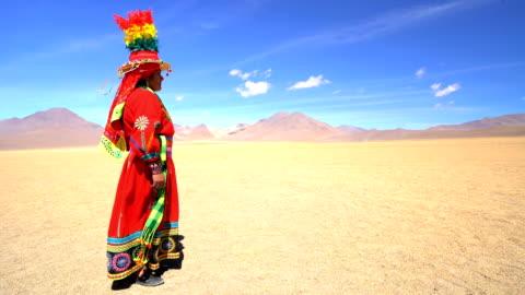bolivian female in eduardo avaroa national reserve desert - headdress stock videos & royalty-free footage