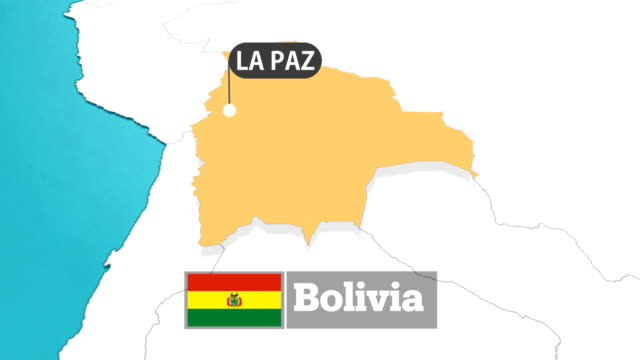 bolivian map with flag - bolivia stock videos & royalty-free footage