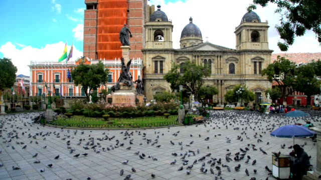 bolivian metropolitan cathedral in plaza murillo la paz - la paz region la paz stock-videos und b-roll-filmmaterial