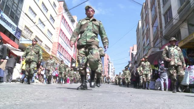 bolivian non commissioned officers marched through la paz again tuesday the second such demonstration in less than a week against the military... - hierarchy stock videos & royalty-free footage