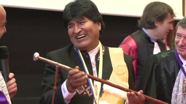 bolivian president evo morales is awarded an honorary doctorate from pau university in southern france - evo morales stock videos & royalty-free footage