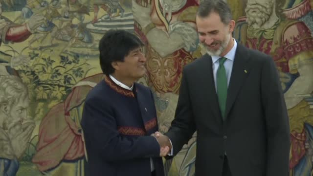 bolivian president evo morales meets with king felipe vi of spain and prime minister mariano rajoy during an official visit to spain - minister president stock videos and b-roll footage