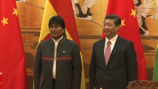 bolivian president evo morales pays a state visit to china clean : bolivian president evo morales pays a stat on december 19, 2013 in beijing, china - evo morales stock videos & royalty-free footage