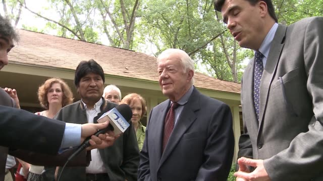 bolivian president evo morales visits 39th u.s. president jimmy carter at his home in plains, georgia. makes presentation of gift and has short press... - evo morales stock videos & royalty-free footage