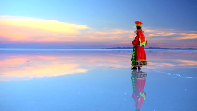 bolivian woman at sunrise in traditional national clothing - bolivia stock videos & royalty-free footage