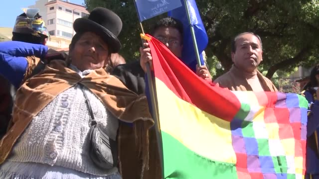 bolivians gather at a public square in la paz to watch the international court of justice decide and eventually reject landlocked bolivia's bid to... - international court of justice stock videos and b-roll footage