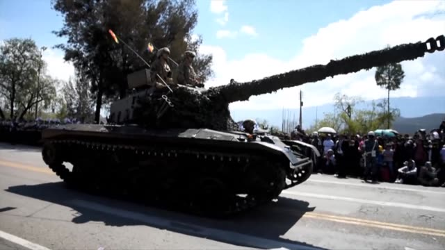 bolivia's evo morales holds a military parade after the andean country celebrated its independence day - evo morales stock videos & royalty-free footage