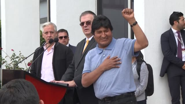 bolivia's ex president evo morales vows to continue the struggle after arriving in mexico where he has been granted political asylum as bolivia's... - bolivia stock videos & royalty-free footage