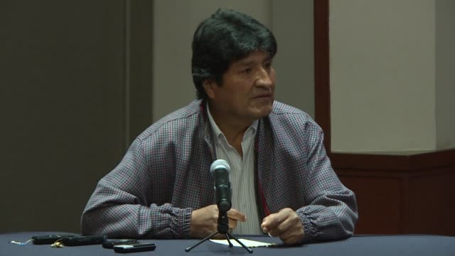 bolivia's former president evo morales calls on the international community to create a truth commission and investigate the fraud tainted elections... - evo morales stock videos & royalty-free footage