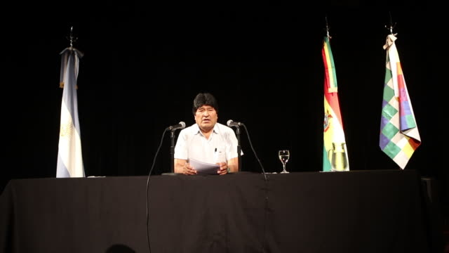 bolivia's former president evo morales talks during a press conference to refer to the arrest warrant issued by the current bolivian government at... - evo morales stock videos & royalty-free footage