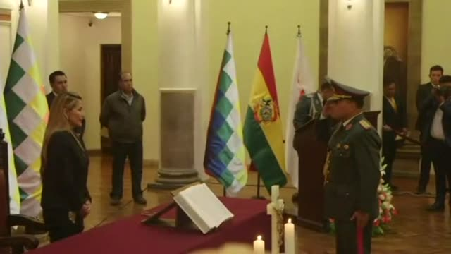 bolivias interim president jeanine anez names a new military high command as she moves to fill the power vaccum left behind by the abrupt resignation... - evo morales stock videos & royalty-free footage