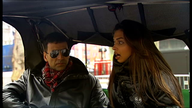 bollywood stars of film chandni chowk to china interview england london soho ext deepika padukone and akshay kumar interview while seated in london... - bollywood stock videos and b-roll footage