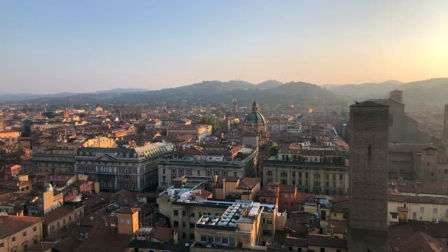 bologna, cityscape from above, 180° pan camera move view with garisenda tower - panorama stock-videos und b-roll-filmmaterial