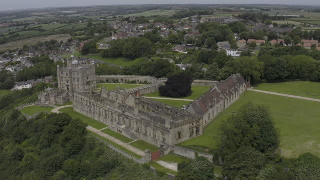 bolsover castle in derbyshire aerial view right to left arc - derbyshire stock-videos und b-roll-filmmaterial