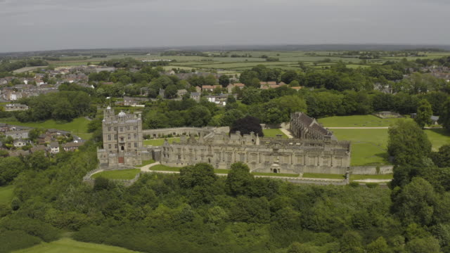 bolsover castle in derbyshire aerial view tracking shot - boundary stock videos & royalty-free footage