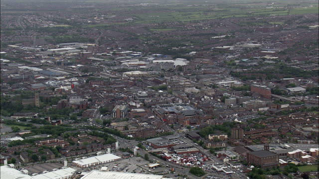 bolton  - aerial view - england,  bolton,  helicopter filming,  aerial video,  cineflex,  establishing shot,  united kingdom - bolton greater manchester stock videos and b-roll footage