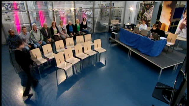 int undecided voters along voters taking seats in studio various shots of voters holding electronic voting handsets as watching debate - electronic music stock videos & royalty-free footage