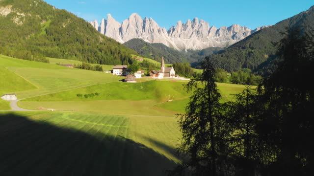 Bolzano natural  landmark view  in Italy with Aerial View. =