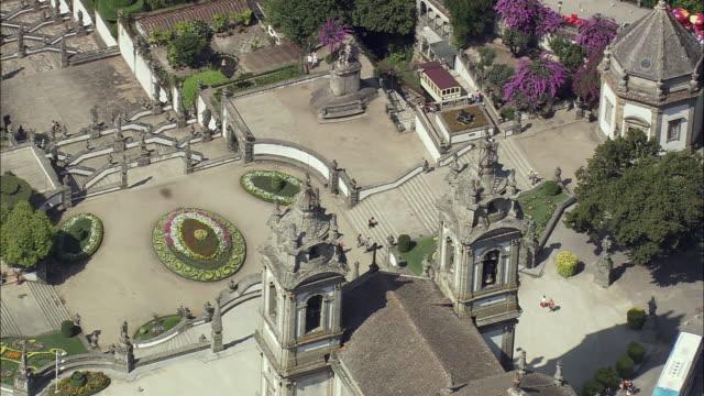 aerial ws bom jesus do monte sanctuary / braga, portugal - portugal stock videos & royalty-free footage