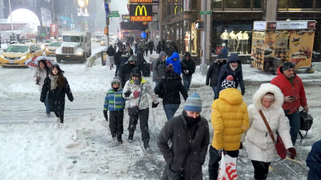 Bomb Cyclone winter storm hits New York City and the rest of the Northeast of the United States Times Square New York City USA during the morning...