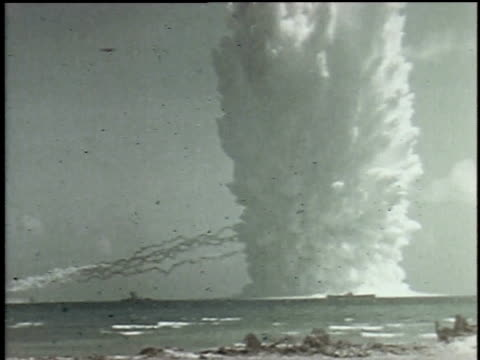 us bomb testing in pacific ocean sends a wave of water that engulfs ship - pacific ocean stock videos & royalty-free footage