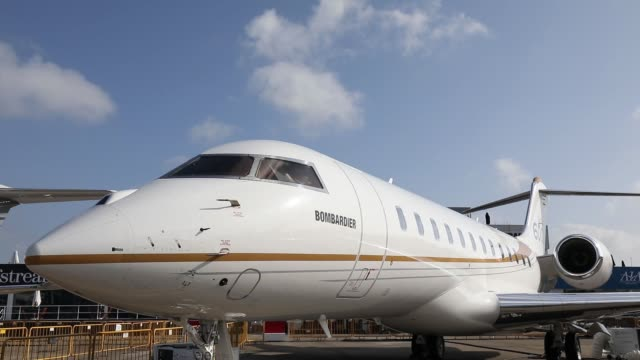 A Bombardier Inc Global 6000 business jet stands on display at the Singapore Airshow held at the Changi Exhibition Centre in Singapore on Monday Feb...
