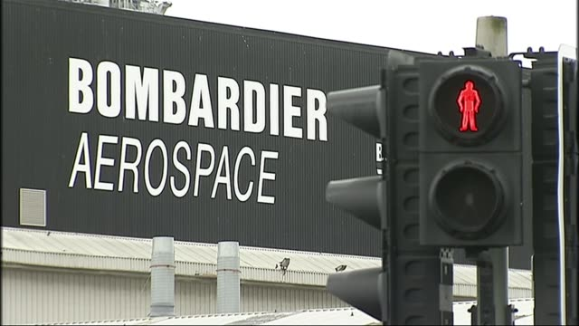Bombardier jobs at risk as American authorities decide to increase import tariffs LIB / TX Belfast EXT Red man on pedestrian crossing light with...