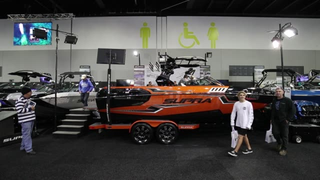 Bombardier Recreational Products Inc's SeaDoo water vehicles are displayed at the company's stand during the Sydney International Boat Show in Sydney...