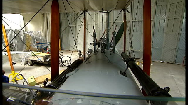 stockvideo's en b-roll-footage met dh9 bomber goes on display at imperial war museum in duxford cambridgeshire duxford imperial war museum int general views dh9 plane under restoration - imperial war museum museum