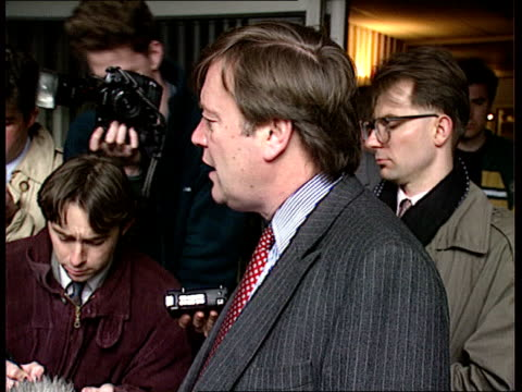 london kenneth clarke mp speaking to press sof on my first day as home sec i realise how important it is to bring these people to justice nireland... - イギリス情報局保安部点の映像素材/bロール