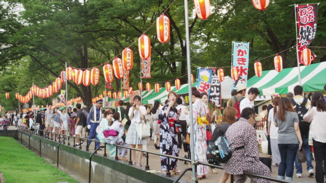 bon odori festival in hibiya - 伝統行事点の映像素材/bロール