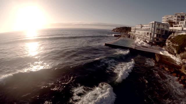 Bondi Icebergs wave crashing against swimming pool