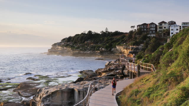 bondi to bronte walk along coast, sydney, new south wales, australia, pacific - ニューサウスウェールズ州点の映像素材/bロール