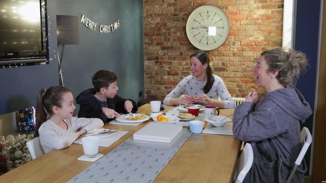 bonding at breakfast - bathrobe stock videos & royalty-free footage