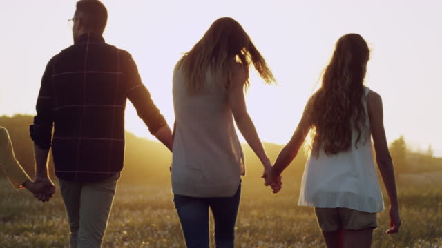 bonding out in the fresh air - holding hands stock videos & royalty-free footage