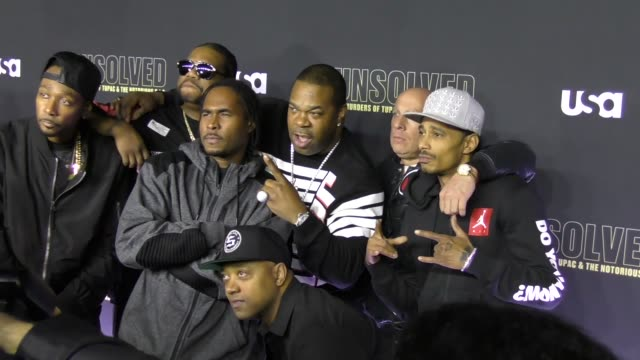 bone thugs-n-harmony & busta rhymes at premiere of usa network's 'unsolved: the murders of tupac and the notorious b.i.g.' in celebrity sightings in... - bone thugs n harmony stock videos & royalty-free footage