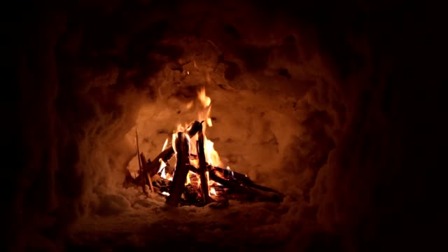 bonfire burning on a tranquil winter night - survival stock videos & royalty-free footage