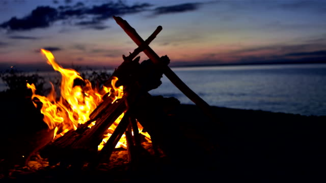 ms bonfire on the beach - camp fire stock videos & royalty-free footage