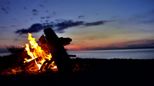 ms bonfire on the beach - camping stock videos & royalty-free footage